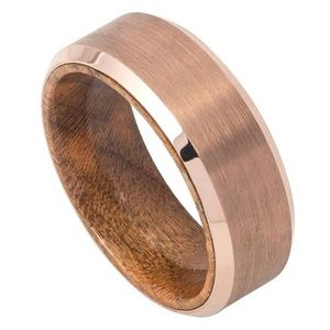 Other - Rose gold tungsten with wood design band.